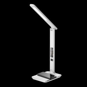 LED stolní lampička Immax KINGFISHER Qi  bílá s bezdrátovým nabíjením Qi a USB